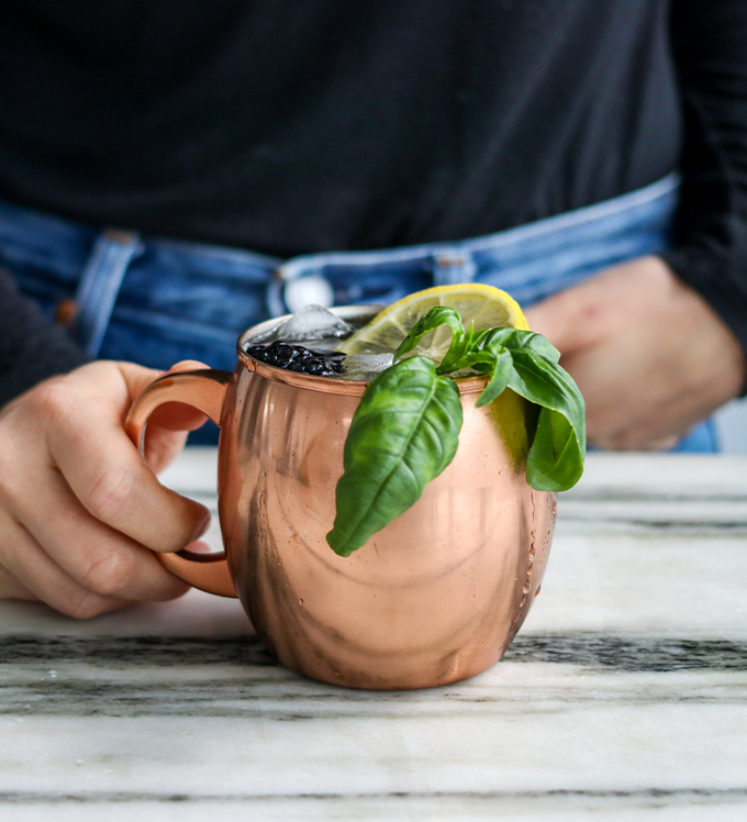 "Bowery Basil Blackberry ""Mule"" Mocktail"