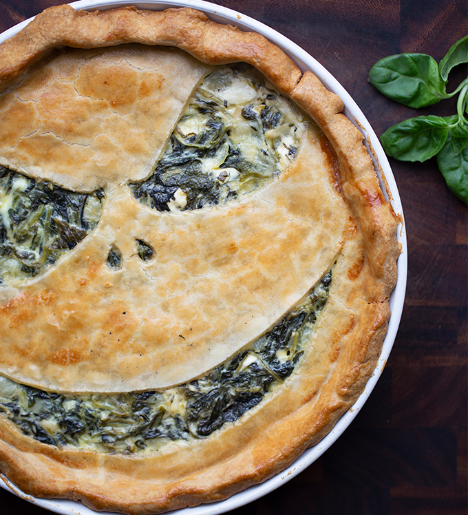 Bowery Baby Kale, Basil and Goat Cheese Pie