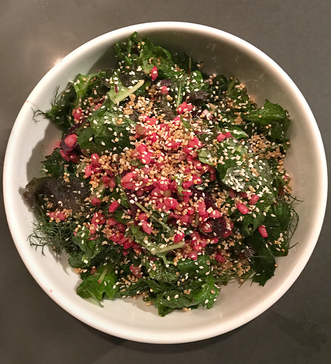 Baby Kale Salad with Puffed Millet Crunch