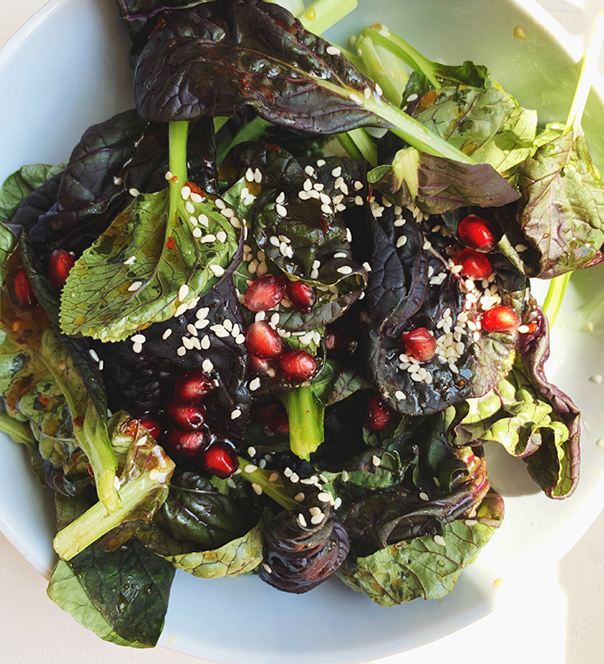 Bowery Bok Choy with Pomegrantes