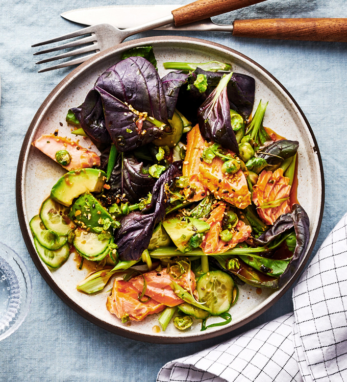 Bowery Bok Choy and Pan Roasted Salmon Salad