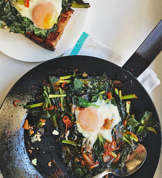 Bowery Bok Choy with Kimchi and Egg on Butter Toast