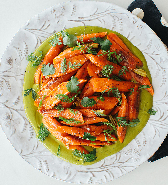 Carrots with Citrus and Bowery Cilantro Sauce