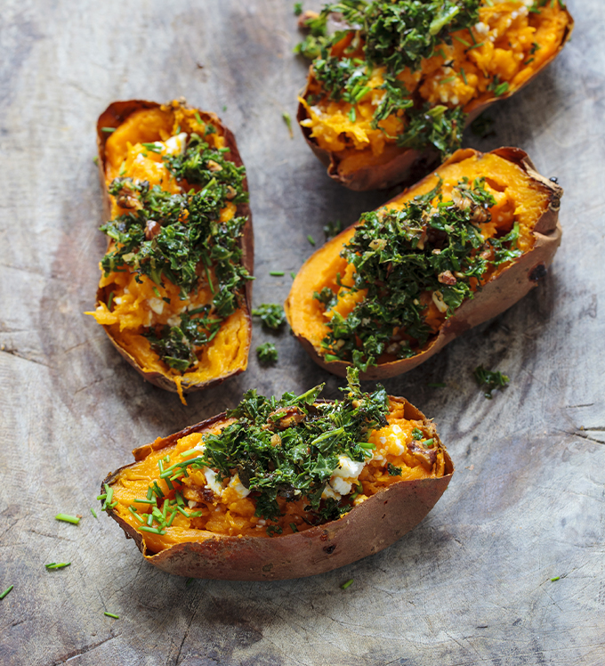 Curried Bowery Baby Kale-Stuffed Sweet Potatoes