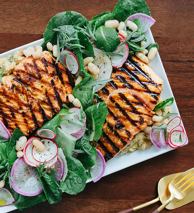 Grilled Salmon with White Bean, Radish, Baby Romaine Salad