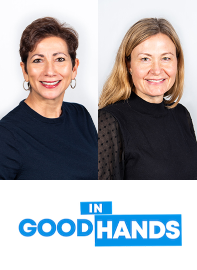 In Good Hands Podcast logo featuring Katie Seawell and Carmela Cugini