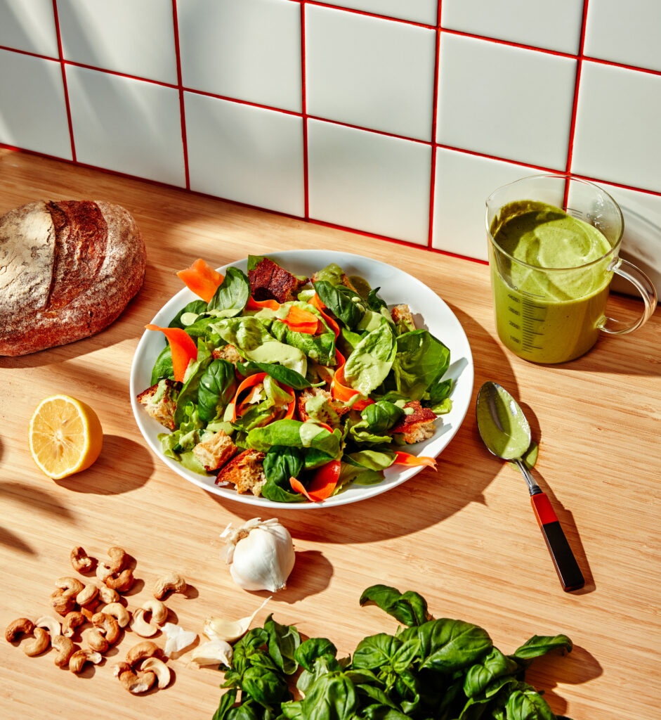 Bowery Butter Lettuce Salad with Garlic Croutons, Shaved Carrots, and Creamy Basil Cashew Dressing