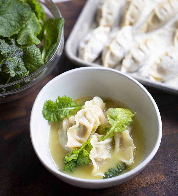 Bowery Farming Mustard Frills and Pork Dumplings Recipe Image by Ashton Keefe